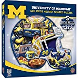 500 piece helmet shaped 22 inch by 25 inch puzzle Thick puzzle board ensures a tight interlocking fit Random cut puzzle pieces create a fun experience Officially licensed collegiate product MasterPieces - an American puzzle & game company. We stand b...