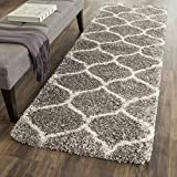 "Safavieh Hudson Shag Collection SGH280B Grey and Ivory Moroccan Ogee Plush Runner (2'3"" x 8')"