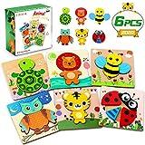 lenbest Jouet Bebe - 3D Puzzles en Bois, Fond Vif Animaux Puzzle, 6pcs Jouets...