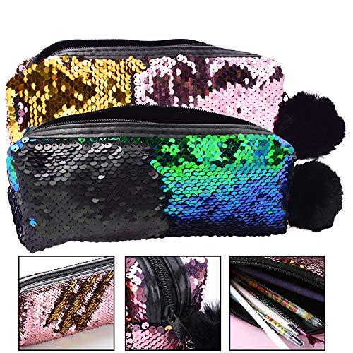 Glitter Trousse, BETOY 2 pezzi Paillettes Astuccio Mermaid Paillettes Sacchetto Cosmetico Spirale...