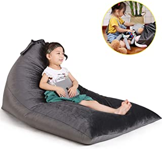 Stuffed Animal Storage Bean Bag Chair for Kids and Adults. Luxury Velvet Stuffie Seat..