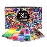 Lot de 180 Crayons Aquarelle, Numérotés, avec un pinceau, un raser et un taille-crayon, Crayons de couleur pour Adultes et Professionnels, Materiel Dessin,...