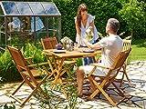 Deuba Sitzgruppe Sydney 4+1 Akazienholz 5-TLG Tisch klappbar Sitzgarnitur Holz Garten Möbel Set - 2