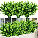 TEMCHY Artificial Plants Flowers Faux Boxwood Shrubs 6 Pack, Lifelike Fake Greenery Foliage with 42 Stems for Garden, Patio Yard, Wedding, Office and Farmhouse Indoor Outdoor Decor