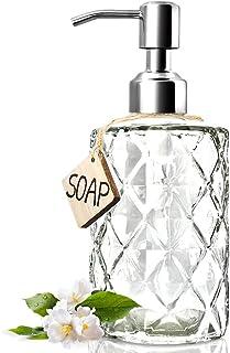 JASAI Diamond Design 12 Oz Glass Soap Dispenser, Kitchen Soap Dispenser with 304 Rust..