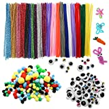 TOAOB Tiges de Fils Chenille colorés Cure Pipes Cleaner 100pcs avec Yeux...