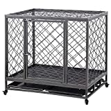 LUCKUP Empire Heavy Duty Dog Cage Strong Metal Kennel and Crate for Medium and Large Dogs, Pet Playpen with Four Wheels,Easy to Install,42INCH, Black … …