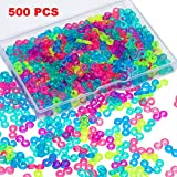 500 Pieces S Clips Rubber Band Clips Plastic Connectors Refills Kit Clip for Loom Bracelets (Colorful)