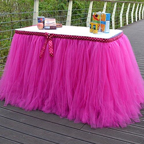 yunhigh tutu tulle gonne tavolo per rettangoli e tavole rotonde baby shower tavolo decorazione copertina per il compleanno di nozze feste natalizie decorazioni-Rosy