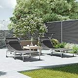 Sonnenliege, Liegestuhl, Gartenliege, extra groß,bis mit Kopfstütze und Sonnendach - 6