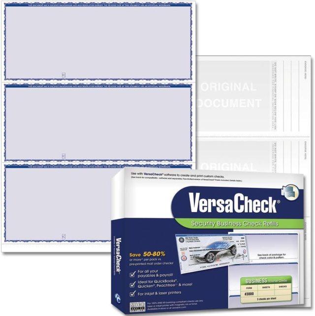 Buy VersaCheck Secure Checks - 13 Blank Business Checks - Blue