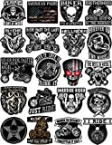 20 Motorcycle Helmet Stickers - 100% Vinyl - Stickers for Adults – Badass Motorcycle Decals Including Skulls, American Flag