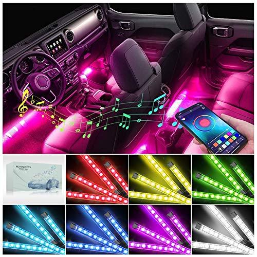 AUXIRACER LED Auto Interni Striscia Led Auto Luci Interne, Colorati RGB Sync to Music |APP| Telecomando | Ambiente Striscie Luce Kit per Interni Macchina | Spina Accendisigari 12V