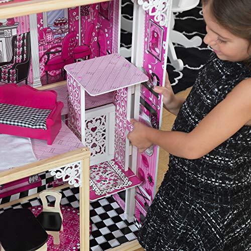 Image 3 - Kidkraft - 65093 - Maison de Poupées en Bois Amelia Incluant Accessoires et Mobilier, 3 Étages de Jeu pour Poupées 30 cm