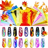Flame Reflections Nail Stickers - 16PCS Holographic Fire Flame Nail Art Decals, Thanksgiving Candle Maples DIY Nail Foils Tape Adhesive Decoration By DR.MODE