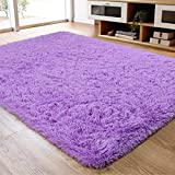 Soft Fluffy Area Rug for Living Room Bedroom, 4x6 Purple Plush Shag Rugs with Non-Slip Backing, Fuzzy Shaggy Accent Carpets for Kids Girls Rooms, Modern Apartment Nursery Dorm Indoor Furry Decor