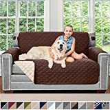 Sofa Shield Original Patent Pending Reversible Loveseat Protector for Seat Width up to 54 Inch, Furniture Slipcover, 2 Inch Strap, Couch Slip Cover Throw for Pets, Dogs, Love Seat, Chocolate Beige