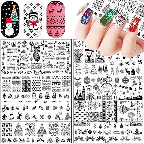 8Pcs Nail Stamping Plate Christmas Nail Art Plates Design Nail Stamp Plates Templates Xmas Tree Snowflake Snowman Deer Santa Claus Image Plate Manicure Nail Art Stamp Printing Stencil Tools