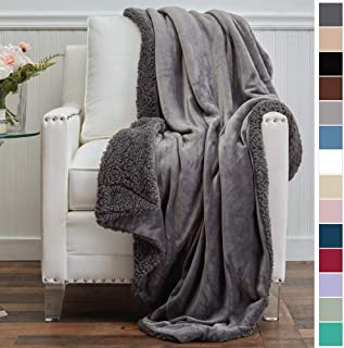 The Connecticut Home Company Micromink Velvet with Sherpa Reversible Throw Blanket, Super..