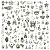 JIALEEY Wholesale Bulk Lots Hallowmas Skull Skeleton Charms Mixed Silver Plated Halloween Mask Charms Pendants DIY for Jewelry Making and Crafting, 100 PCS Hallowmas Style