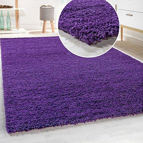 Shaggy - Tappeto A Pelo Lungo in Diversi Colori E Misure, Dimensione:140x200 cm, Colore:Viola