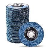 LotFancy 4.5 Inch Flap Discs - 20PCS 40 60 80 120 Grit Assorted Sanding Grinding Wheels, Premium Zirconia Alumina Abrasives, T27