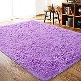 ISEAU Fluffy Rug Carpets Soft Shaggy Area Rug Indoor Floor Rugs for Kids Room Fuzzy Carpet Comfy Cute Nursery Rug Bedside Rug for Boys Girls Bedroom Living Room Home Decor Mat, 3ft x 5ft, Purple