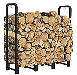 Artibear Firewood Rack Stand 4ft Heavy Duty Logs Holder for Outdoor Indoor Fireplace Metal Wood Pile Storage Stacker Organizer, Matte Black