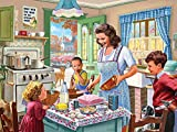 Bits and Pieces - 300 Piece Jigsaw Puzzle for Adults 18' x 24'  - Kitchen Memories - 300 pc Classic 50's Baking Cake Family Jigsaw by Artist Steve Crisp