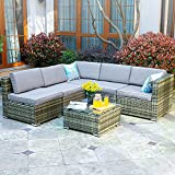 YITAHOME 6 Piece Outdoor Patio Furniture Sets, Garden Conversation Wicker Sofa Set, and Patio Sectional Furniture Sofa Set with Coffee Table and Cushion for Lawn, Backyard, and Poolside, Gray Gradient