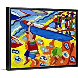 The Boat Race Black Floating Frame Canvas Art, 16'x13'x1.75'