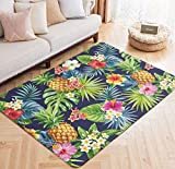 Area Rug Pineapple Tropical Flower Print Floor Mat Palm Tree Leaves Large Carpet for Kids Yoga Living Room Home Decor Rugs 5' x 6.6'
