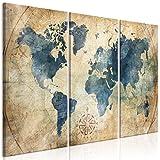 murando Impression sur Toile intissee Carte du Monde 120x80 cm Tableau 3 Parties Tableaux Decoration...