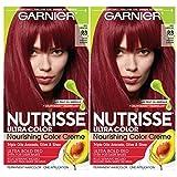 Garnier Nutrisse Ultra Color Nourishing Permanent Hair Color Cream, R3 Light Intense Auburn (Pack of 2) Red Hair Dye