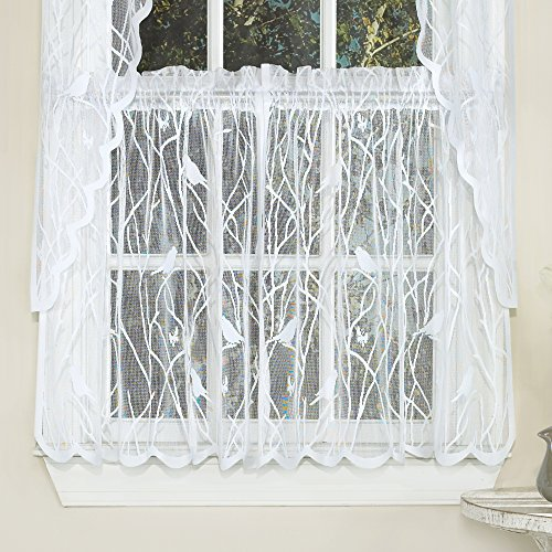 """Sweet Home Collection Kitchen Window Tier, Swag, or Valance Curtain Treatment in Stylish and Unique Patterns and Designs for All Home Décor, 36"""", Songbird White"""
