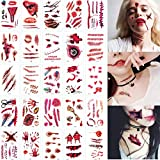 30 Sheets Horror Realistic Fake Bloody Wound Stitch Scar Scab Waterproof Temporary Tattoo Sticker Halloween Masquerade Prank Makeup Props