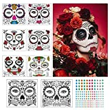 Tatuaje cara temporales Halloween ZERHOK 8pcs etiqueta Mascarada diseño cráneo...
