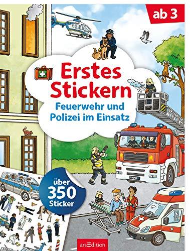 Erstes Stickern Feuerwehr und Polizei im Einsatz: Über 350 Sticker | Erstes Stickerheft für...