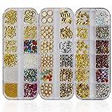 Piedras preciosas de arte de uñas, 3 cajas de diamantes de imitación mixtas (900 piezas)
