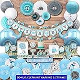 RainMeadow Jumbo Premium Elephant Baby Shower Decorations for Boys Kit | It's A BOY | Banner, Napkins, Straws, Paper Lanterns, Honeycomb Balls, Fans, Cake Toppers, Sash, Balloons | Blue Grey White