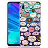 ZhuoFan Coque Huawei P Smart 2019, Etui en Silicone 3D Transparente avec Motif Peinture Dessin Antichoc TPU Housse de Protection Coque pour Téléphone Huawei PSmart 2019 6,21 Pouces, Donuts