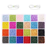 KIPIDA Pony Beads for Bracelets, 7200 Pcs Pony Seed Beads Set 24 Colors Small Glass...