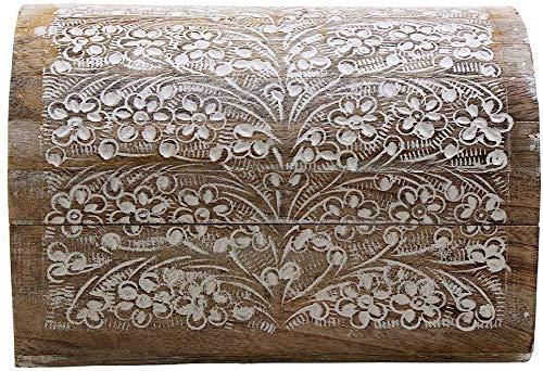 Indus Lifespace Organizador de Cajas de Almacenamiento de Joyas de Madera de Mango Tallado a Mano con Motivos Florales