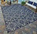 Gertmenian 21565 Nautical Tropical Carpet Outdoor Patio Rug, 5x7 Standard, Navy Blue Floral Medallion