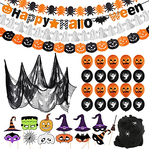 Halloween Globos Decoración Set, Halloween Feliz Banner,Diseño de Telaraña con...