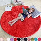 Red Round Rug for Bedroom,Fluffy Circle Rug 4'X4' for Kids Room,Furry Carpet for Teen Girls Room,Shaggy Circular Rug for Nursery Room,Fuzzy Plush Rug for Dorm,Red Carpet,Cute Room Decor for Baby