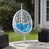 White Resin Wicker Hanging Egg Chair w/ Stand Outdoor Patio Includes Blue Cushion