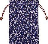 京佑 御朱印帳 ご朱印帳 朱印帳 巾着 袋 入れ 日本製 和柄 ドット 唐草 紺 18×26.5cm