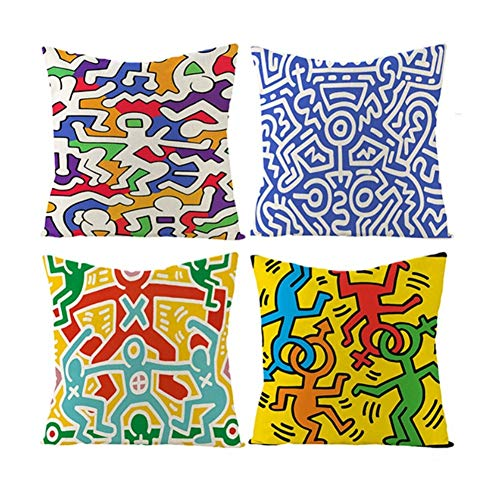 Keith Haring Modello Decorazione Domestica Quare federe Copre Set di 4 Cuscino Gettare Copertura 18x18 for Home Office del sofà Auto 45 Centimetri X 45 Centimetri, con Cerniere Invisibili 268