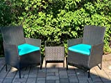 3 Pieces Patio Furniture Sets - PE Rattan Wicker Patio Set with 2 Cushioned Chairs & 2 Blue Cushion &1 Glass Top Patio Table(Outdoor and Indoor)